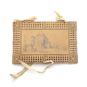 Antique 19th C Miniature Punch Paper Bristol Board Needle Book W Pencil Drawing