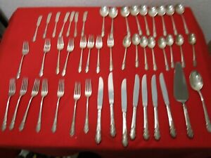Rogers Sterling Silver Is Bridal Veil Flatware Set 48 Pcs