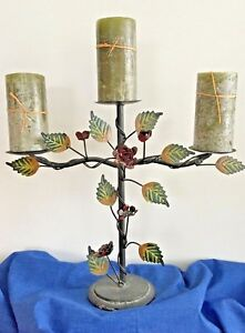 Tole Ware 3 Candle Stand Candelabra Black Red Green Heavy Base Leaves Roses