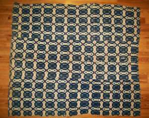 Scarce Antique Vtg 1820s Overshot Coverlet Wool Red White And Blue Nice Pattern