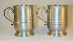 Pair Of Vintage Miniature Tulip Mugs Cast Pewter By Crown Rose London England