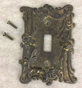 Vintage 60s American Tack Hdwe Metal Light Switch Plate Roses Architectural
