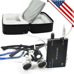 Dental Surgical Medical Binocular Loupes 2 5x 420mm Head Light Lamp Cloth Case