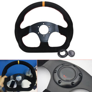 Universal 13inch Auto Racing Flat Suede Leather Drift Sport Steering Wheel Solid