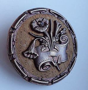 Xlg Antique Wood Backed Button Metal Trumpet Flower Cut Steel 1 7 8
