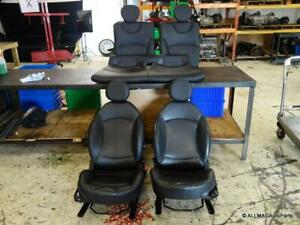 09 15 Mini Cooper R57 Convertible Sport Seats Set Leather Punch Black Heated T8e