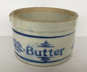 Nice Antique Stoneware Butter Crock With Blue Lettering