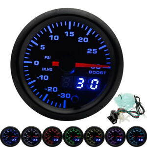 2 52mm 7 Colors Led Car Turbo Boost Gauge Psi Meter Analog Digital Dual Display