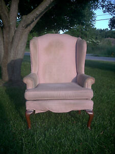 Vintage 1994 Queen Anne Wingback Fireside Chair Sam Moore Furniture