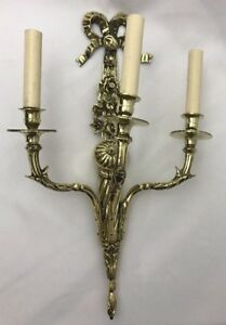 Antique Ornate Brass Wall Sconce Light Lamp 3 Arm Candle Victorian Electric Vtg