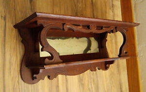 Antique Victorian Carved Oak 2 Tier Wall Clock Shelf W Mirror