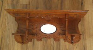 Antique Victorian Carved Oak Wall Clock Shelf W Mirror Shelves Spindles