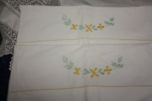 Lovely Vintage White Embroidered Cotton Pillowcases Yellow Flowers Excellent