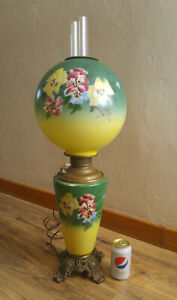 Huge Antique Miller Gone With The Wind Oil Lamp Painted Pansies Electrified