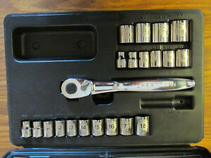 New Usa Craftsman 3 8 Dr Thin Profile Ratchet 44995 Socket Set Metric Sae 6 Pt