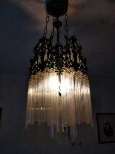 Old Portuguese Iron Worked Lamp Sconce Chandelier With Tubular Glass From 50 S