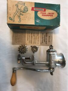 Vintage Universal Food And Meat Chopper 2 With Box And Instructions