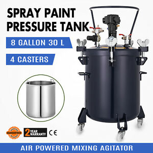 8 Gallon 30l Spray Paint Pressure Pot Tank 1 4 Air Inlet Commercial 4 Clamps