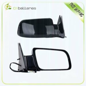 Black Fold Power Side View Mirrors Pair Set For 88 00 Chevy Gmc Truck New Rh lh