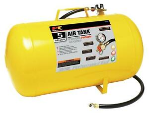 Air Tank Portable 5gals Steel Yellow 3 Hose Shut Off Valve Psi Gauge Tire Chuck