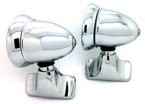 New Talbot style Chrome Bullet Door Mount Side View Mirrors Vintage Classic Set