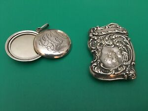 Antique Victorian 1800s Ladies Sterling Silver Mirror Silver Match Safe