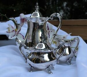 Poole Silver Comp Vintage Coffee Pot Sugar Creamer Set Price Reduced Was 99