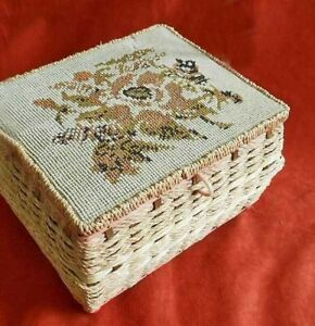 Sewing Basket Music Box Antique Victorian Huge Needlepoint Top Pearls Rope