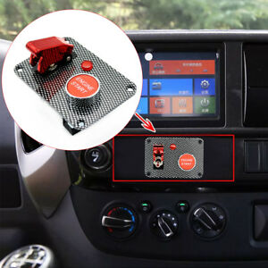 Carbon Fiber Racing Car Ignition Switch Panel Engine Start Push Button Red Led