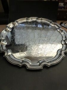 Cavalier Round Silver Plated Butlers Champagne Tray With Scalloped Edge 13 Inch