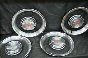 Set 1968 69 Ford Torino Gt Fastback Cobra Hubcap Center Cap Trim Beauty Rings