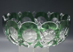 Val St Lambert Cut To Clear Emerald Green Large 10 Bowl Signed