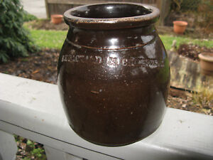 Antique F E Packard Stoneware Crock Old Brown Decorative Art Pennsylvania