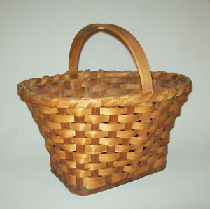 Nice Old Vtg Ca 1960s Hand Woven Signed Oak Splint Market Basket Tapered Oval