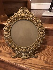 14 Tall Vintage Victorian Style Cast Iron Vanity Table Top Mirror With Glass