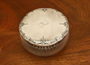 Large R Wallace Sons Sterling Silver And Etched Glass Dresser Jar