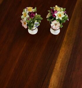 2 Gorham Sterling Silver Candlesticks With Coalport Bone China Bouquets