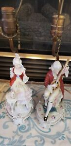 Antique German Victorian Pair Of Figural Porcelain Lamps Stamped An Numbered