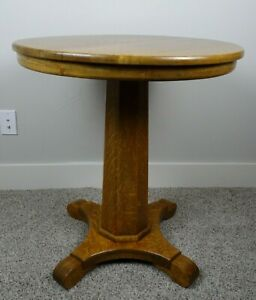 Antique Early 1900 S Round Oak Pedestal Lamp Parlor Table With Glass Top Euc