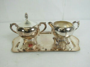 Vintage Fb Wm Rogers 1883 2pc Silver Plated Cream Sugar Service Set Platter