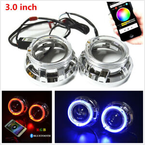 3 0 h1 Bi Xenon Hid Projector Lens Shrouds Rgb Angel Eye Halo Ring Bluetooth App