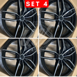 Four 19 Staggered Black Machine V Style Rims Wheels Fits Honda Accord 5x114 3