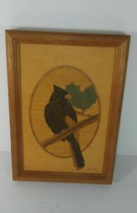 Vtg Hudson River Inlay Marquetry Cardinal Signed Nelson Framed 9 6 X 6 3 4