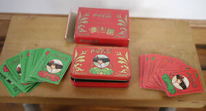 Pair Vintage Coca-Cola Old Fashioned COKE Woman Playing Cards w/ Tin Case Box