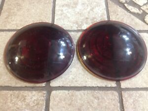 Pair 308 Tail Light Lens Nos Truck Red Glass Trailer Auto Vintage 3 3 16