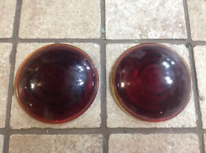 Pair Tail Light Lens Nos Truck Red Glass Trailer Auto Vintage 2 9 16