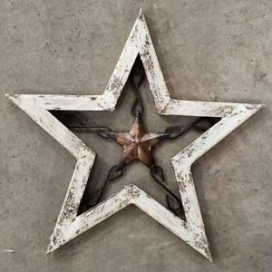 Vintage Style Metal Barn Star Wooden Rustic Man Cave Western Shabby Texas Chippy