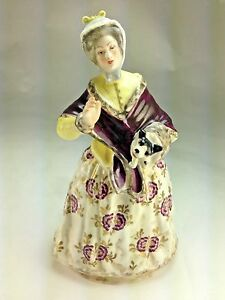 Antique Rare French 1810 S L Jacquot Lady With Puppy Porcelain Figurine