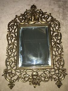 Antique Victorian Mirror Ornate Large Heavy Brass Frame 9 X 13 Gold