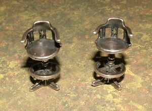 Vintage Pair Miniature Sterling Silver Chairs